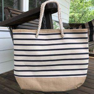 Steinmart Navy Stripe Magnetic Close Tote Bag NIP